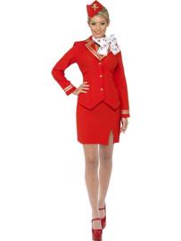 Stewardess kostuum rood