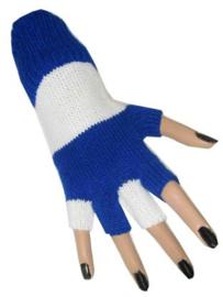 Vingerloze handschoenen blauw/wit