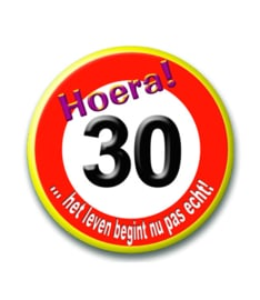 Button 30 jaar verkeersbord