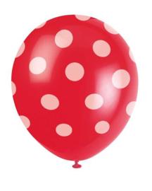 Ballonnen dots wit rood