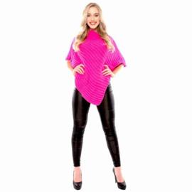 Gebreide poncho fluor roze