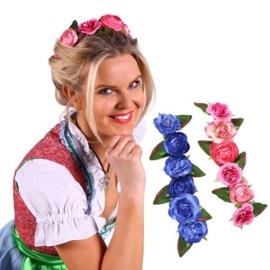 Bloemen haarband dirndl roze