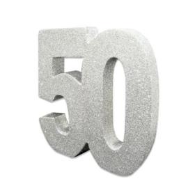 Tafeldecoratie 50 glitter zilver