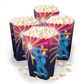 Set 4 Papieren popcornbakjes Disco fever