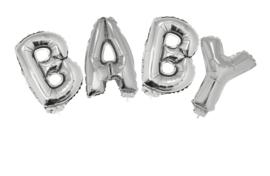 Ballon set 38cm Baby met lint  zilver