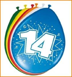 Ballonnen 14 jaar (assorti kleuren)