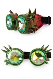 Steampunkbril rood-groen