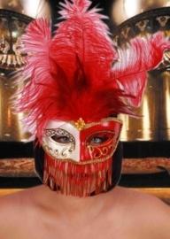 Oogmasker gran gala fantasie rood