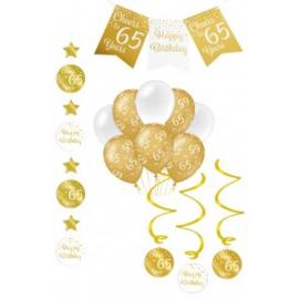 Verjaardag Feestpakket 4 delig goud   65 jaar
