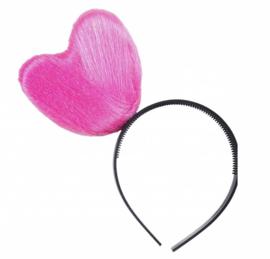 Diadeem hart pink