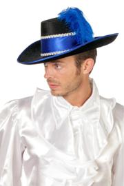 Musketiers hoed luxe blauw