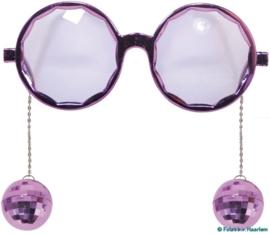 Paarse bril met discoballen