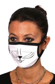 Mondkapje met katten gezicht print