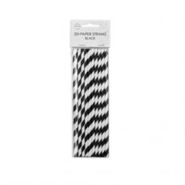 20  Papieren rietjes 6mm x 197mm striped zwart