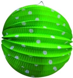 Lampion rond lichtgroen met witte stippen