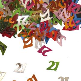 Tafeldecoratie / sier confetti 21 jaar