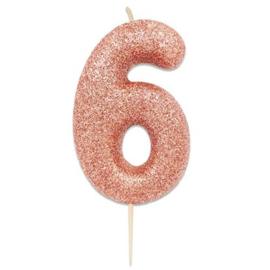 Nummerkaars glitter rosegoud '6'