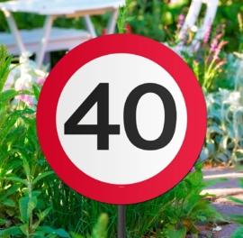 Tuinbord verkeersbord 40