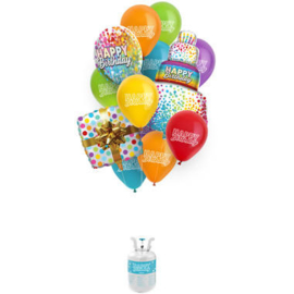 Helium tank Balloongaz 30 'Happy Birthday' met Ballonnen en Lint