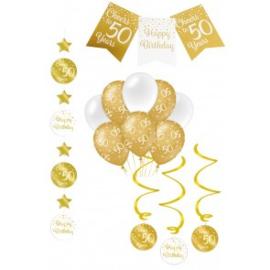 Verjaardag Feestpakket 4 delig goud   50 jaar