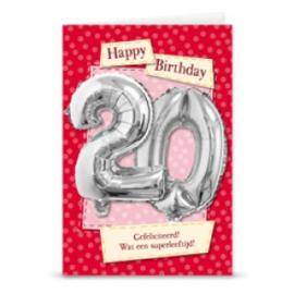Leeftijd ballonnen kaart 20 jaar