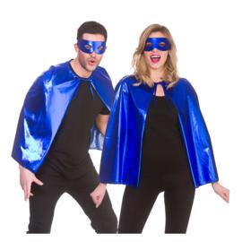 Blauwe helden metallic cape en masker