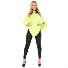 Gebreide poncho fluor groen