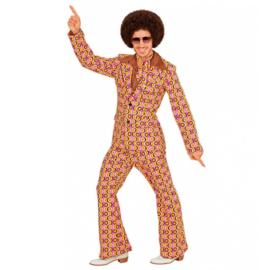 Groovy 70's  heren kostuum pinkprint