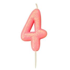 Nummerkaars glitter roze '4'