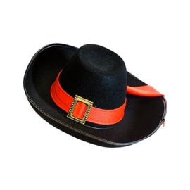 Musketiers hoed vilt zwart