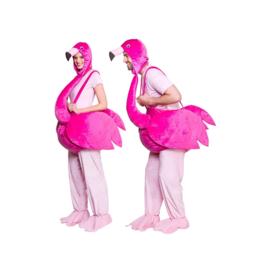 Flamingo kostuum gedragen