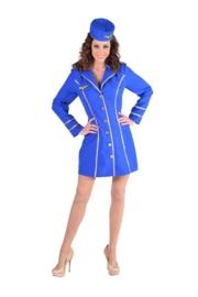 Stewardess jurkje classy blauw