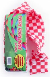 Crepe guirlande - slingers -- rood/wit geblokt
