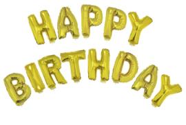 Ballon set 38cm Happy Birthday met lint Goud