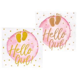 Set 12 Papieren servetten 'Hello Girl