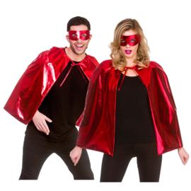 Rode helden metallic cape en masker