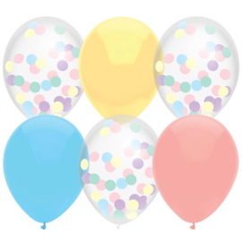 Ballonnen mix pastels 6 stuks