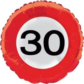 30 jaar folieballon verkeersbord