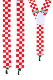 Bretels rood wit geblokt