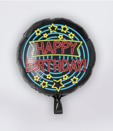 Neon folieballon Happy birthday