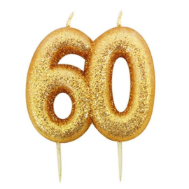Nummerkaars glitter goud '60'