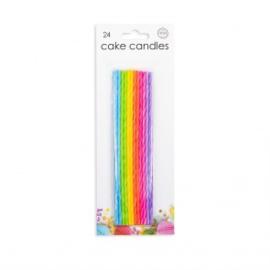 24 Cake kaarsjes extra long multicolor