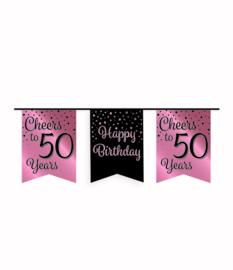 Party vlaggenlijn rose/zwart - 50
