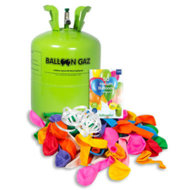Helium tank Balloongaz met 50 Meerkleurige Ballonnen en Lint