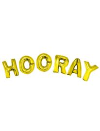 Ballonset 96cm Hooray  met lint Goud