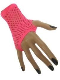 Net handschoenen roze