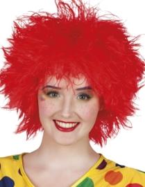 Clown pruik touwtjes rood