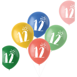 Retro ballonnen 12 jaar   33cm / 6 stuks
