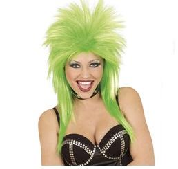 Pruik rockster groen