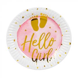 Set 6 Papieren bordjes 'Hello Girl